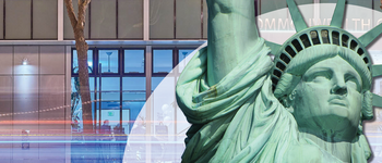 Image - Statue of Liberty in front of Commonwealth Club building