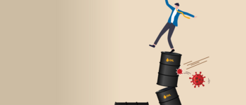 Image - illustration of person on oil barrels