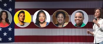 Image - faces of panelists plus Kamala Harris