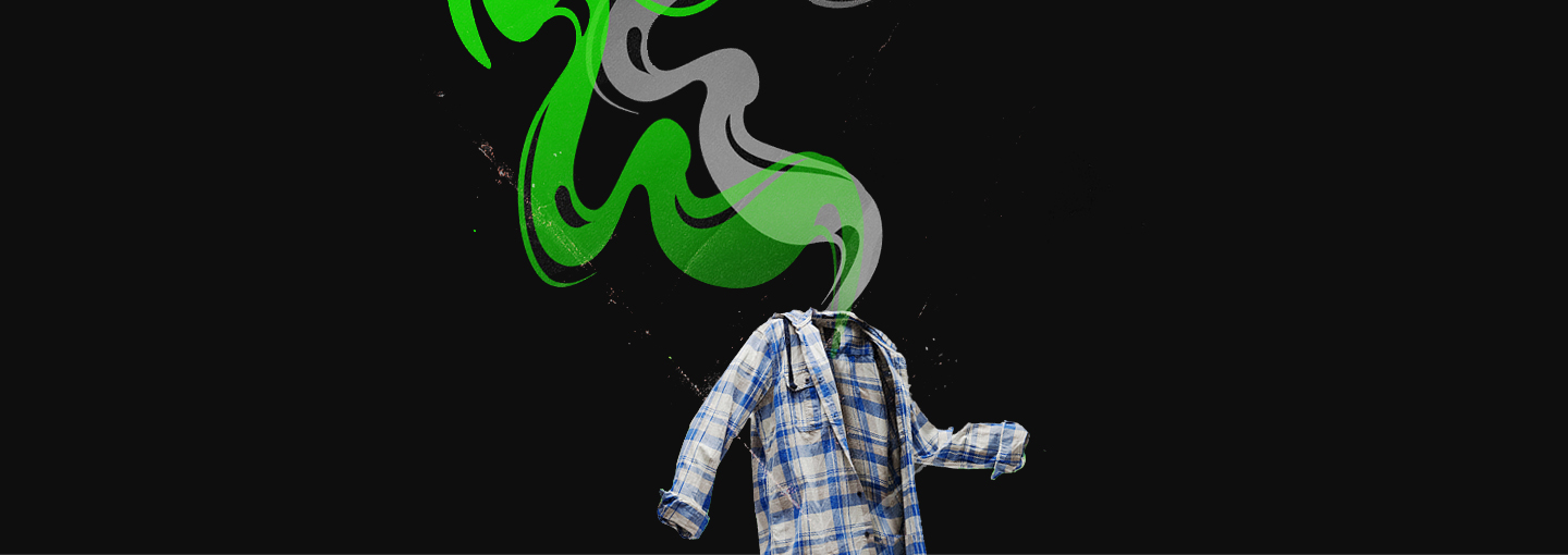 Image - a man whose head has been strangely replaced by streams of smoke
