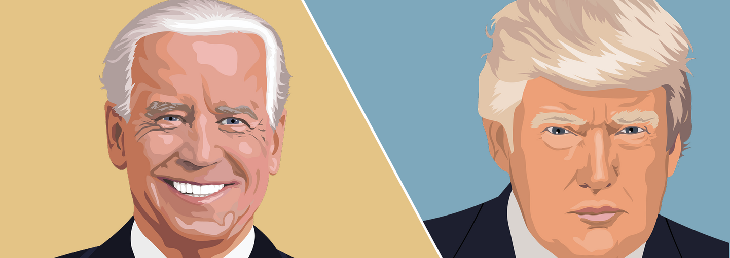 Image - illustrations of Joe Biden and Donald Trump