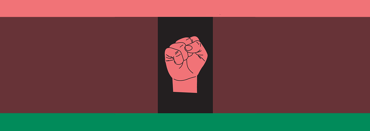 Graphic - A fist against a dark background with a pink top border and a green bottom border