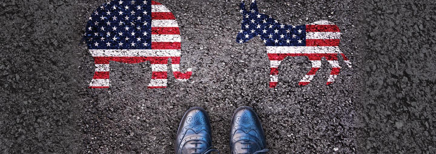 Image - painting of GOP and Democratic symbols, with person's shoes between them