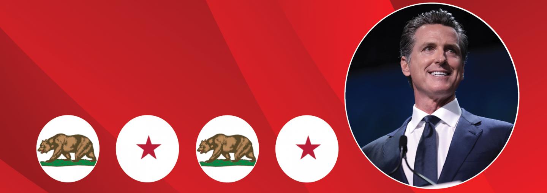 Image - Gavin Newsom next to symbols from California flag