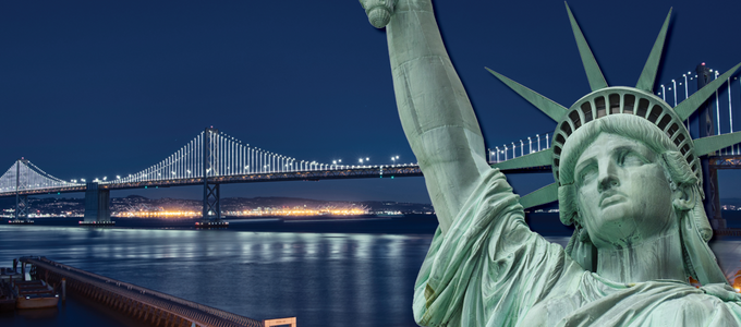 Image - Statue of Liberty against the Bay Bridge