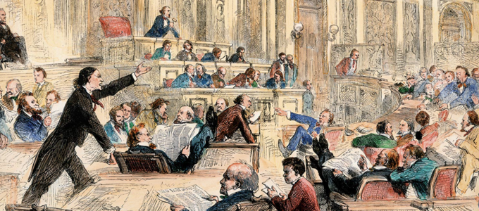 Image - illustration of members of congress debating