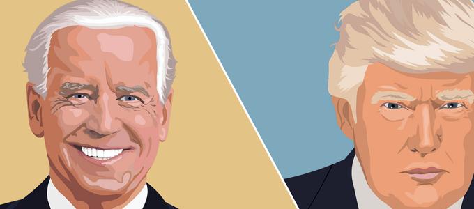 Image - illustrations of Joe Biden and Donald Trump