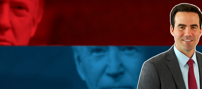Image - author Robert Costa, with photos of Trump and Biden