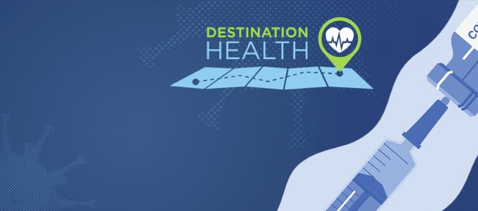 Image - Destination Health text and logo, alongside illustration of vaccination needle