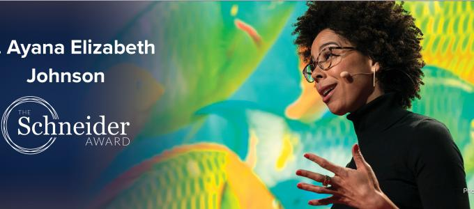 Image - Dr. Ayana Elizabeth Johnson and the Stephen H. Schneider Award logo