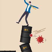 Image - illustration of person on oil barrels