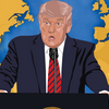 Image - illustration of Donald Trump and a map