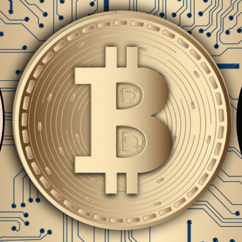 Image - Bitcoin symbol in front of computer circuitry, plus speakers faces